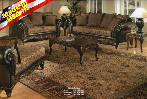 Roundhill Furniture San Marino 2-Tone Fabric Sofa & Loveseat, Chocolate