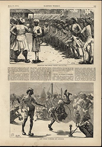east-indian-irregular-troops-sword-acrobats-1872-antique-wood-engraved-print