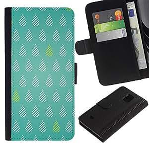LASTONE PHONE CASE / Lujo Billetera de Cuero Caso del tirón Titular de la tarjeta Flip Carcasa Funda para Samsung Galaxy S5 Mini, SM-G800, NOT S5 REGULAR! / Tears Green Rain Raindrops Pattern Polka Dot
