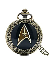 Steampunk Pocket Watch, Design Hot Movie Theme Star Trek Pocket Watch for Boys Girls, Brass Quartz Watch Gift