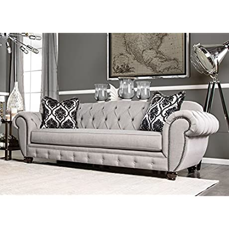 Furniture Of America Bowie Modern Victorian Tufted Sofa Gray