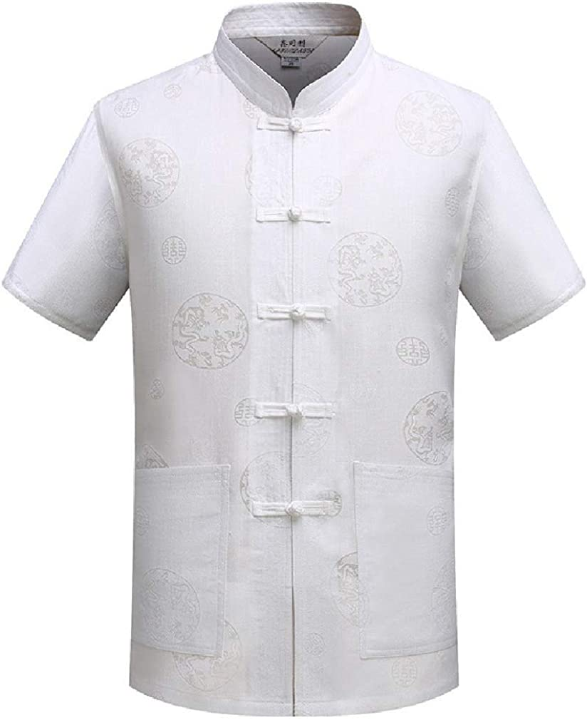 Coolred-Men Short-Sleeve Floral Shirts Linen Traditional Chinese Garments