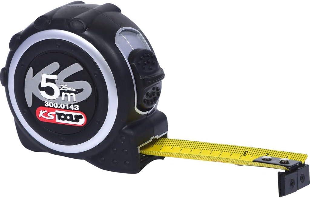 5 x 25 mm clip per cintura e linguetta magnetica Precision Plus Flessometro con pulsante di bloccaggio KS Tools 300.0143