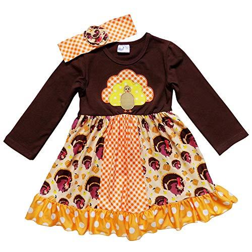 So Sydney Girls Toddler Fall Holiday Polka Dot, Scroll, Stripe Pumpkin Dress (M (4T), Plaid Turkey & Headband) ()