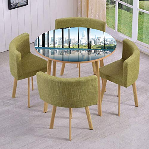 Round Table/Wall/Floor Decal Strikers/Removable/Metropolitan Cityscape of New York USA in Central Park Forest Photo/for Living Room/Kitchens/Office -
