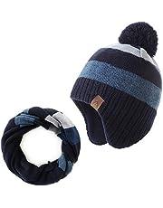 AHAHA Jongens Wintermuts Fleece Gevoerde Skiën Peuter Hoed Sjaal Set Upgrade Gebreide Oorklep Mutsen voor Baby