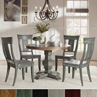 iNSPIRE Q Eleanor Sage Green Round Solid Wood Top Panel Back 5-piece Dining Set by Classic Oak 4