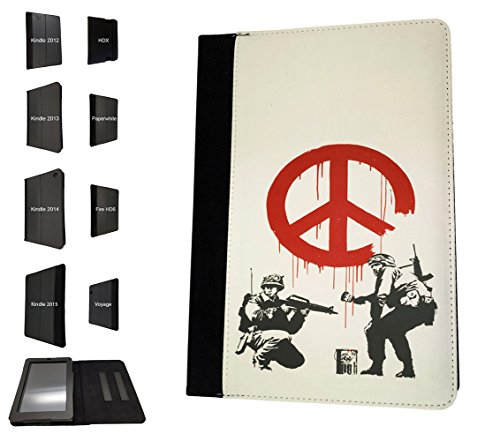 002267 - Banksy graffiti art peace sign soldier Design Amazon Kindle Fire HD 8 (2017) Flip Case Purse pouch Stand Cover