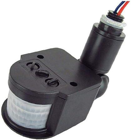 Casecover Interruptor Sensor De Movimiento De 250 V Detector De Movimiento Infrarrojo Automático del Sensor PIR 180 Grados De Rotación Al Aire Libre Reloj De Luz Negro: Amazon.es: Hogar