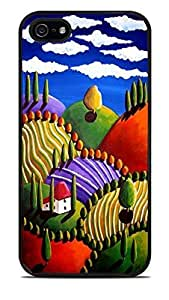 Whimsical Tuscan Landscape Black Silicone Case for iPhone 5 / 5S by ruishername