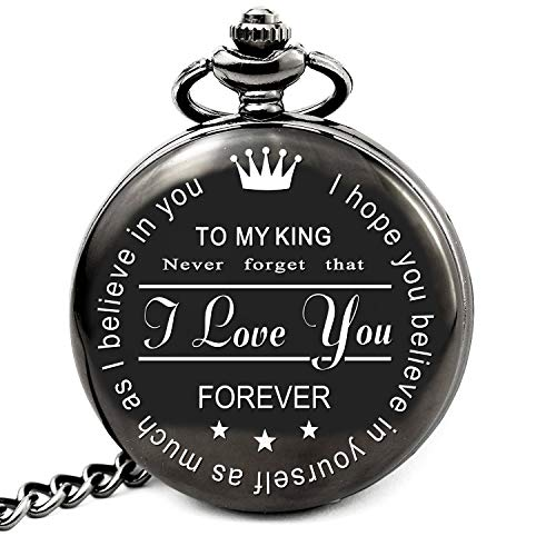 Husband Gifts from Wife for Birthday Anniversary Christmas, Boyfriend Gifts from Girlfriend, Engraved Pocket Watch (My King (Roman Style Black)) (Best Christmas Gift For My Boyfriend)