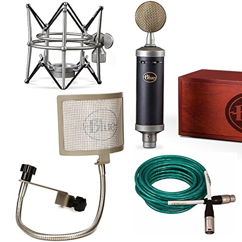 Blue Baby Bottle SL Microphone Bundle with the Pop filter, and quad xlr premium cable Blue Mic bundle (Cardioid Bottle Microphone)