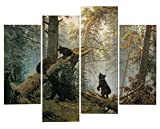 Very artistic Giclee Artwork Animal Paintings Wall Art a Bear Family in the Forest Playing on a Fall Down Tree 4 Panel Picture Print on Canvas for Modern Home Decoration
