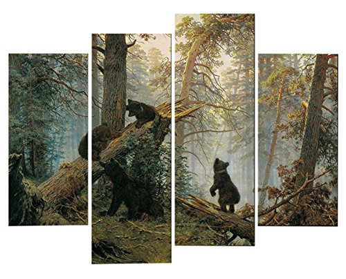 very-artistic-giclee-artwork-animal-paintings-wall-art-a-bear-family-in-the-forest-playing-on-a-fall