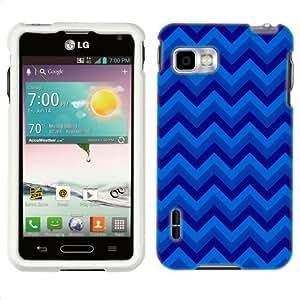 Metro PCS LG Optimus F3 Chevron Blue Zig Zag Pattern Phone Case Cover