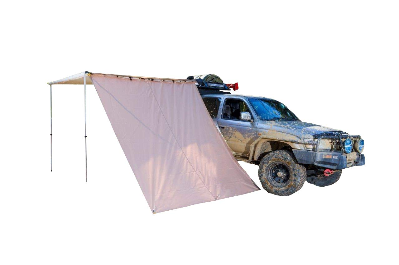 DANCHEL OUTDOOR 6.5//8.2Lx10W Car Side Awning with 10ft Side Extension Khaki, 8.2x10ft+2x10ft