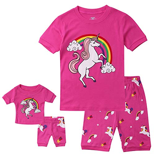 Hsctek Girls Pjs, Short Sleeve Pajamas for Kids, Summer Cotton Kids Pajamas(Matching Doll Rose Unicorn, 6) ()