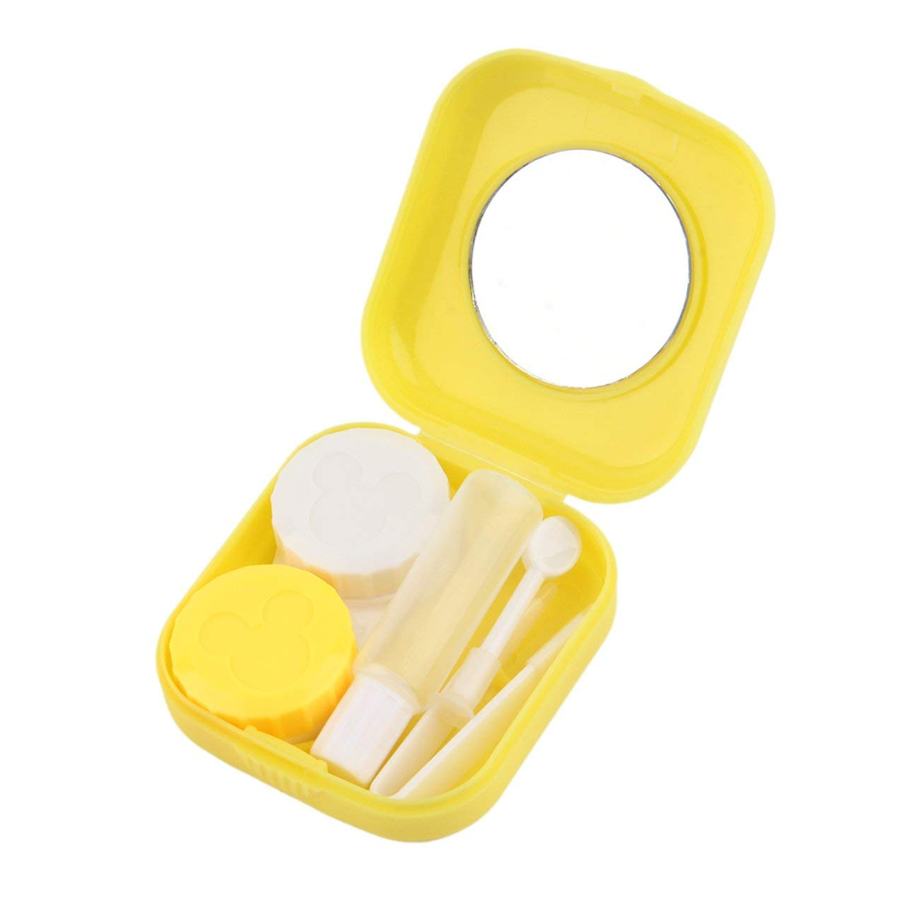 Liobaba Plastic Portable Mini Contact Lens Case Outdoor Travel Contact Lens Holder Container With Mirror Easy Carry For Eyes Care