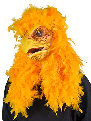 Zagone Super Chicken Mask, Yellow Bird Feathers Moving Mouth (Chicken Costumes For Adults)