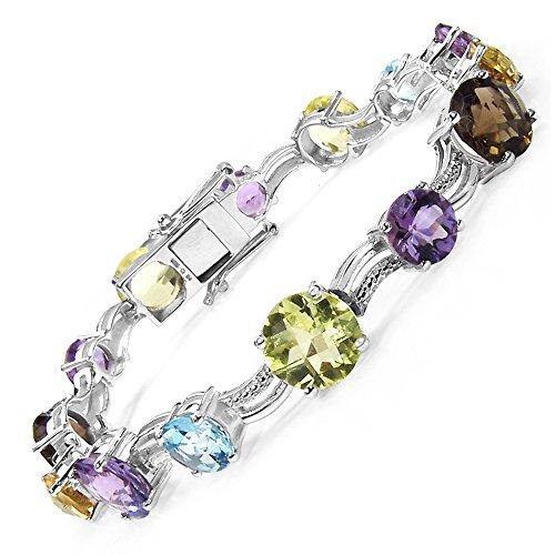 26.40 Carat Genuine Multi Stone .925 Sterling Silver Bracelet