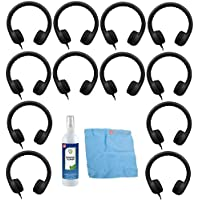 Hamilton Buhl Flex-Phones, Foam Kids Headphones & Cleaning Kit (12-Pack, Black)