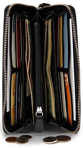 Wallet Zipper Leather LEABAGS Womens PHILADELPHIA Brown Genuine Clutch Black Holder Card ORw4Sq