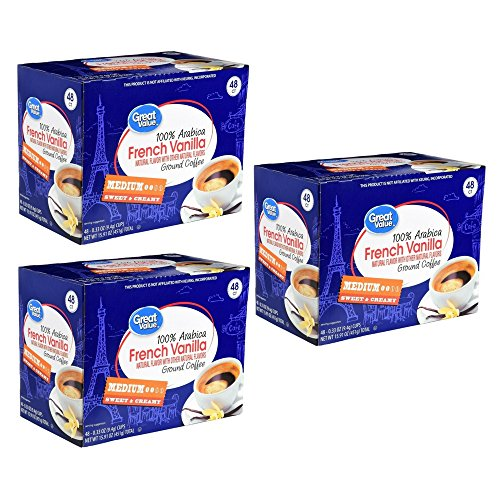 (Great Value Light Roast 100% Arabica Coffee K-Cup Packs, French Vanilla, 48 Ct (3 Pack))