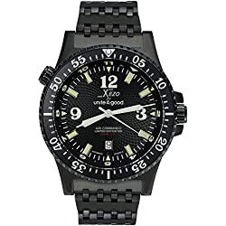 Xezo Men's Air Commando Japanese-Automatic Diver's Pilots Black Watch D45-BL. 2nd Time Zone