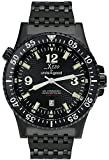 Xezo Men's Air Commando D45-BL Japanese-Automatic Diver's Pilots Watch. 2nd Time Zone. 200M WR. Black PVD Titanium Carbide Coated