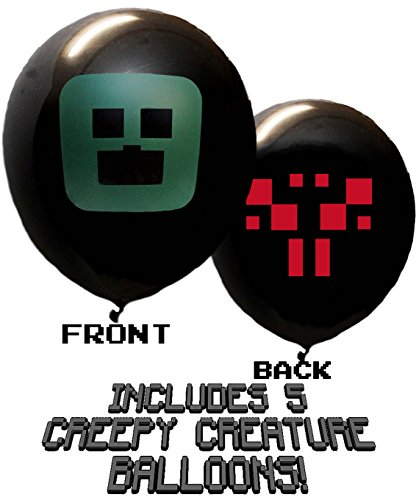 25 Pixel Style Miner Party Balloon Pack - Large 12'' Latex Balloons by Jade's Party Packs (Image #2)