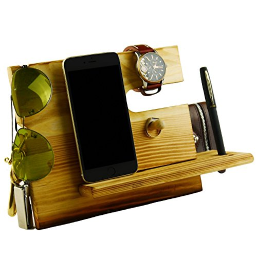 Mens Watch Pen - Winmaarc Wooden Phone Docking Station Key Holder, Pen Holder, Wallet and Watch Organizer Men's Gift