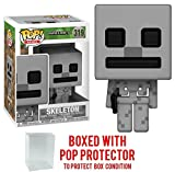 minecraft skeleton head - Funko 8-Bit Pop! Games: Minecraft - Skeleton Vinyl Figure (Bundled with Pop BOX PROTECTOR CASE)