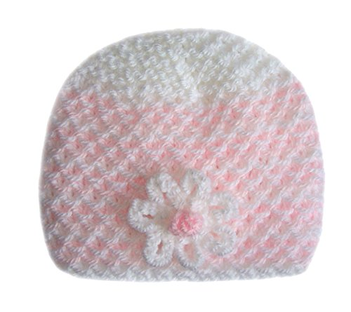 e323fb4ee White/Pink Hand-Knitted Baby Beanie Hat With White Flower - Newborn ...