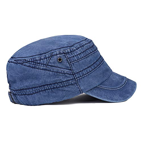 Men's Twill Cotton Peaked Baseball Cap Cadet Army Cap Military Corps Hat Cap Visor Flat Top Adjustable Baseball Hat