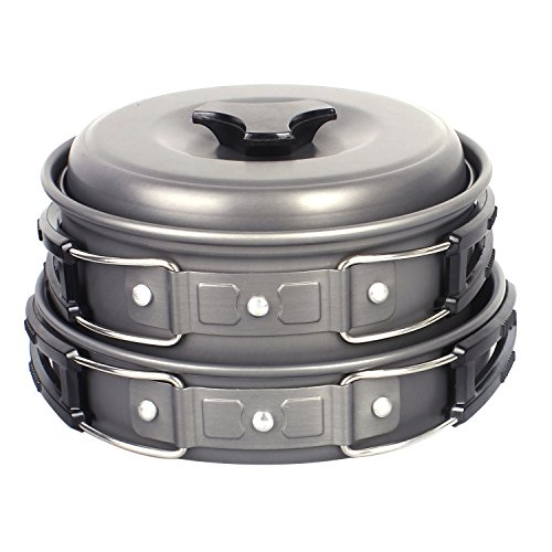 Camping Pot, Portable Hard Anodized Aluminum Cooking Ware Cookware Pot Pan Kits (Set of 13)