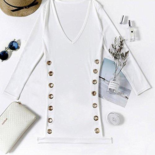 Mini Kleider, Frauen Bandage Hollw Out Enge Kleid Sexy Damen Deep V Long Sleeve Shirt Kleider weiß