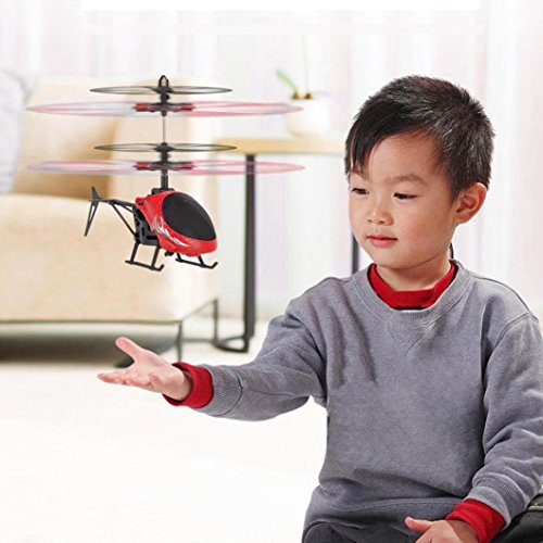 3d Rtf Electric Mini Helicopter (Leegor Mini RC Infraed Induction Helicopter Aircraft Flashing Light Electric Flying Toys For Kids USB Charged Airplanes Birthday Present Christmas Gift (Red))