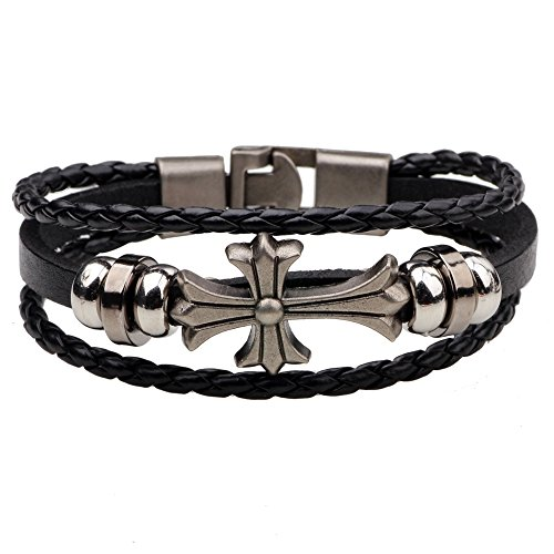 Ac Union Cross Charm Handmade Stainless Steel Leather Bracelet Friendship Gift for Men - Cross