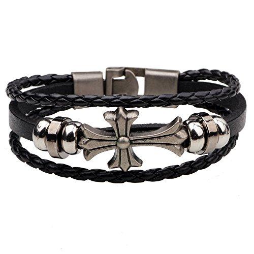 (Ac Union Cross Charm Handmade Stainless Steel Leather Bracelet Friendship Gift for Men - Cross )