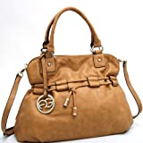 Anais Gvani Women's Sophisticated Drawstring Leather Like Shoulder Bag Handbag w/ Logo Charm -Tan