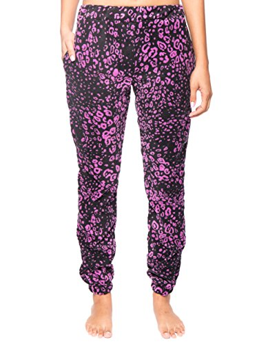 Noble Mount Women's Microfleece Jogger Lounge Pant - Leopard Black/Purple - Large (Leopard Lounge Pants)