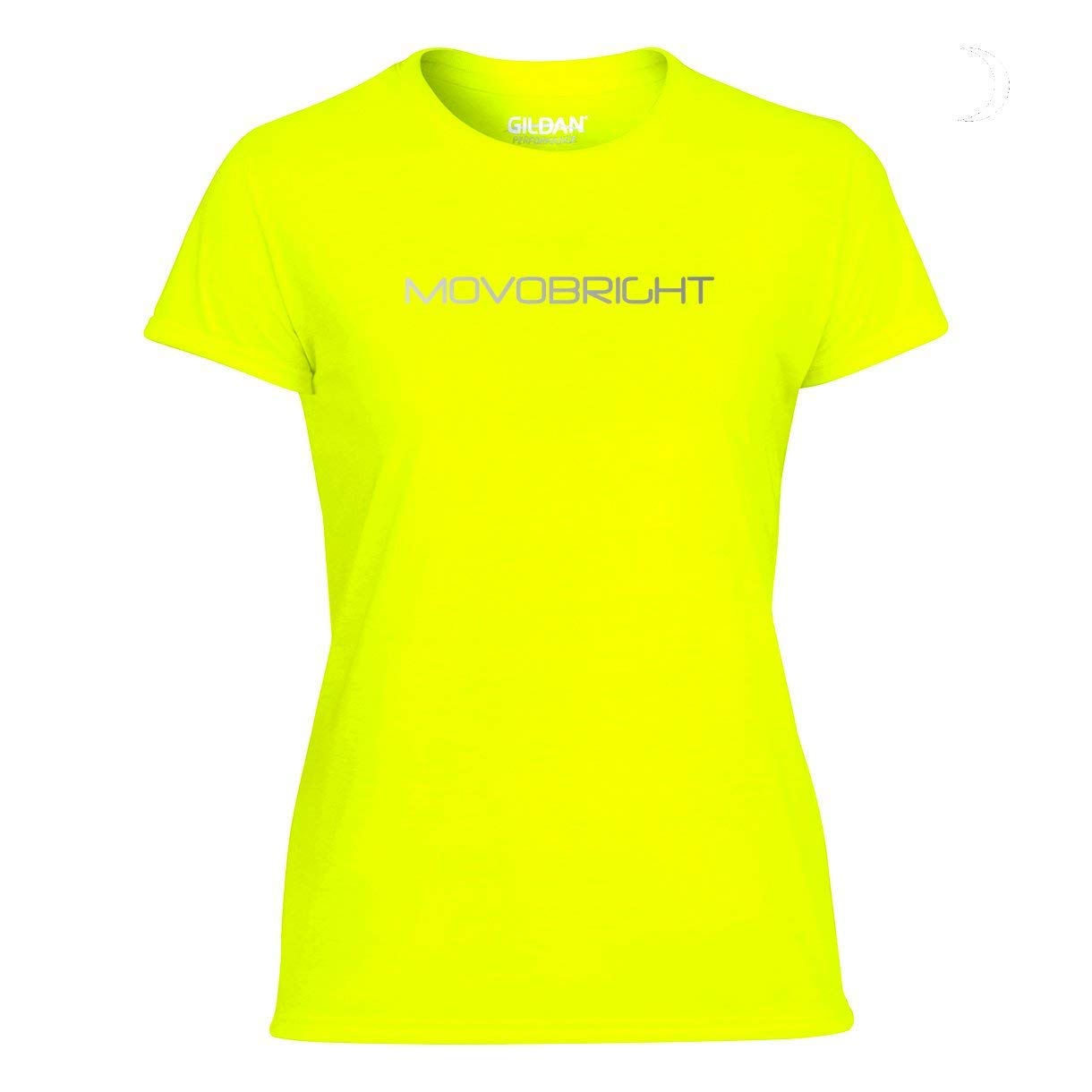 Ideal for Running Ladies Short Sleeve Reflective MovoBright Logo and Rear Detail 100/% Wicking Polyester for Max Cool Breathable Comfort. Womens Reflective Hi Viz Running T Shirt Top Cycling Exercise High Vis Reflective Logo and Detail Training Gym