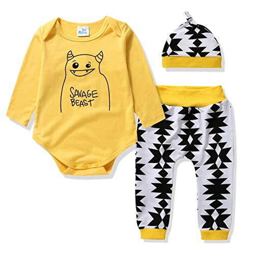 Infant Boys Long Sleeved (Adoy Baby Boys Girls Bodysuits & Pants & Cap Clothes 3 Pcs Set Infant Outfit /Pajama (100(18-24Month),)