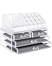 Neewer Acrylic Jewelry and Cosmetic Storage Display Box Drawers, Makeup Palette Organizer, Quality Clear Plastic, 2 Pieces Set