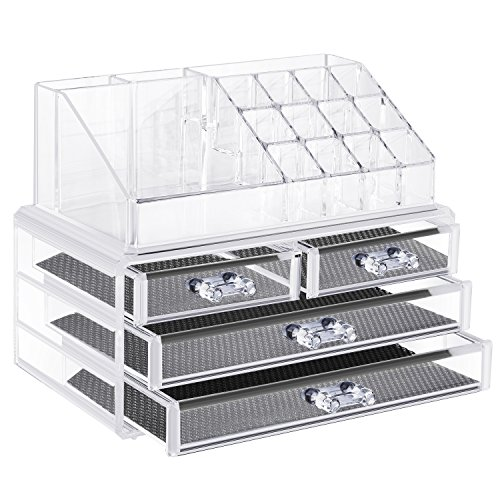 Neewer Caja Almacenamiento de Joyas y Cosméticos Acrílica , Organizador de Paleta de Maquillaje, Plástico Transparente de...