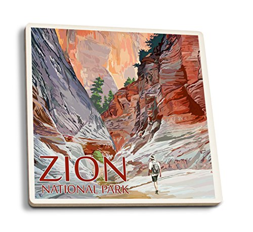 Lantern Press Zion National Park, Utah - Slot Canyon (Set of 4 Ceramic Coasters - Cork-Backed, Absorbent) (Best Slot Canyon Hikes In Utah)