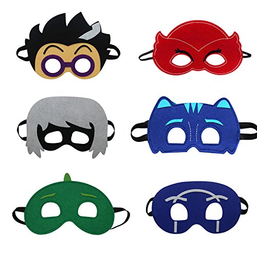 Laudmu Kids Cartoon Hero Party Dress Up Costumes Mask - pack of 6 -