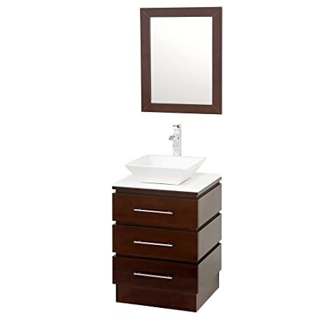 Wyndham Collection Rioni 22 Inch Pedestal Bathroom Vanity In Espresso, White  Man Made Stone