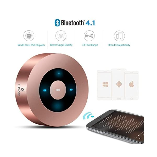 [LED Touch Désign] Enceinte Bluetooth, XLeader Haut-Parleur Bluetooth sans Fil Portable, avec Son HD/12 Heures de Lecture/Bluetooth 4.1/Support Micro SD,pour iphone/ipad/ Tablette/Echo Dot (Or Rose) 3
