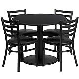 Dyersburg 5pcs Table Set Round 36'' Black Laminate, Black Vinyl Chair